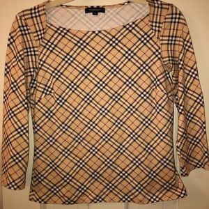 Burberry 3/4 sleeve top in classic Burberry plaid